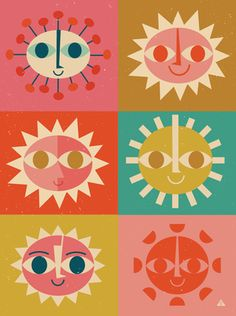 """Very Mary Blair influenced a la""""It's A Small World."""" """"Here come the suns"""" by Very Mary Blair influenced, It Icons, Posca Art, Mary Blair, Disney Tattoos, Grafik Design, New Wall, Graphic Illustration, Landscape Illustration, Digital Illustration"""