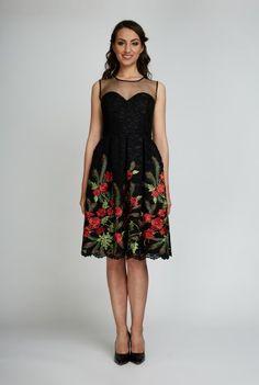 Rochie eleganta neagra cu dantela brodata cu maci BEATRICE-N -  Ama Fashion Maci, Summer Dresses, Formal Dresses, Fashion, Summer Sundresses, Tea Length Formal Dresses, Moda, Formal Gowns, Fashion Styles