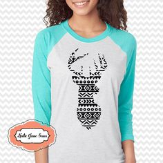 Aztec Deer Silhouette Tshirt, Christmas Deer Head, Adult Raglan Tshirt by KatieJaneSews on Etsy