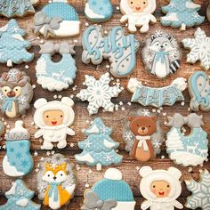 A winter woodland baby shower theme? What could be more perfect! Thanks to for the bib inspiration . December Baby Shower Ideas, January Baby, November, Baby Cookies, Baby Shower Cookies, Sugar Cookies, Spice Cookies, Baby Shower Themes, Baby Shower Decorations
