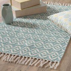 Teppich aus blauer Baumwolle mit Motiven 60x90 COLLIOURE - Shop Landhaus Look