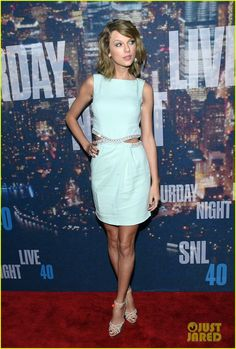 Taylor Swift looked Gorgeous In Baby Blue Azzaro Dress At 'SNL' 40th