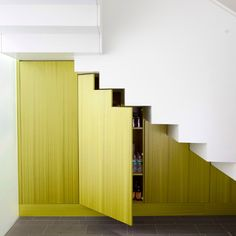 Love the under stair storage ideas that involve cutting the doors around the shapes of the stair rises and treads <3