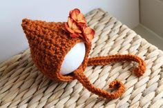 Harvest Baby Bonnet for Boy or Girl - Pumpkin, Burnt Orange Pixie Hat with Detachable Flower Clip - Newborn - READY TO SHIP. $22.00, via Etsy.