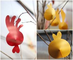 Easter! Cute bunny, rooster and chicken with a little paper and glue. Super simple craft for easter decoration mania!