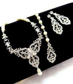 Bridal backdrop necklace bridal jewelry SET by treasures570