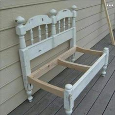 Make a bench from an old head & foot board