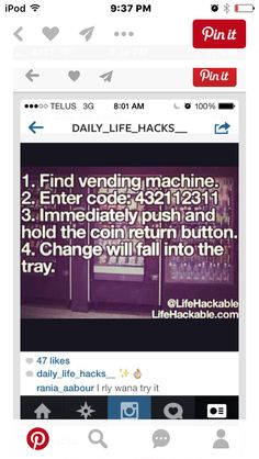 Cool fact, don't know if this will work but I really want to try it Essential Life Hacks & How-to's You Need In Your Life. Simple Life Hacks, Useful Life Hacks, The More You Know, Good To Know, Vending Machine Hack, Vending Machines, Wtf Fun Facts, Cool Random Facts, Cool Facts