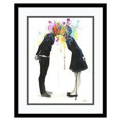 Big Bang Kiss'' Framed Wall Art, Black