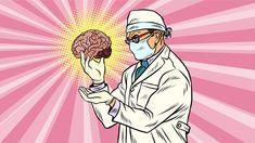 Lege med en hjerne i hånden, i tegneseriestil.