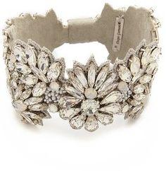 bridal jewelry, bride, wedding, accessories, elopement, bling Deepa Gurnani Crystal Statement Bracelet