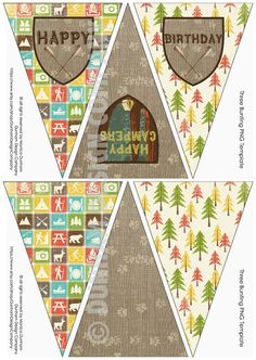 CAMPING Party Happy Birthday Bunting by DunhamDesignCompany
