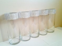 Centerpiece Cylinder Vase Lot Silver Bling Rhinestone Diamond Crystal Elegant Wedding Party Vases 5 Pc Lot. $44.95, via Etsy.