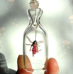 Little Pink Fairy Valentine Gift Miniature under glass by HoKiou, $68.00