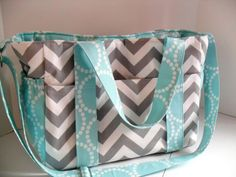 Extra Large Diaper bag Made of Grey Chevron with Aqua Pearl Bracelet Fabric/ Elastic Pockets/ 12 Pockets