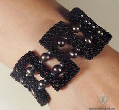 Gothic black pearl bracelet B267 Free international by FleurDeIrk, $210.00