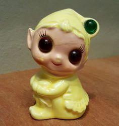 Vtg-Napcoware-Pixie-or-Elf-Night-Light-Ceramic-Yellow-Kitsch-NAPCO
