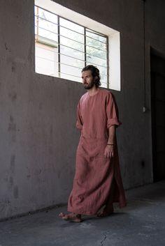 Men's modern pure linen loungewear. Unique brick by YUMEworld