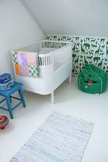 I love the white and green in this nursery