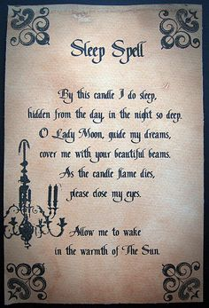 Sleep Spell Wicca is kind of cool makes me feel like I'm in one of my fantasy books ^-^