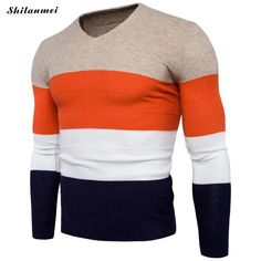 Warm Sweater Men Casual Slim Fit Knitted Sweaters Shirts Classic striped patchwork V-Neck Pullover Men Pull Homme  #Affiliate