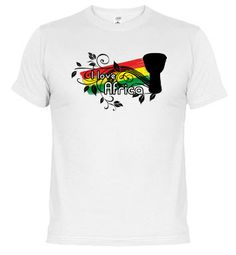 "Camiseta ""I love África"". Compra online en www.latostadora.com/mundopercusion"