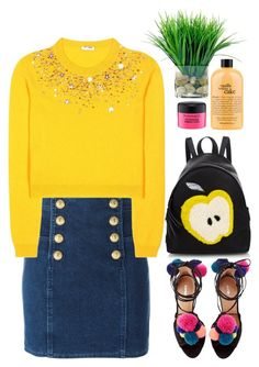 """""""funny-sunny days"""" by grodell ❤ liked on Polyvore featuring philosophy, Balmain, Miu Miu, Fendi and MAC Cosmetics"""