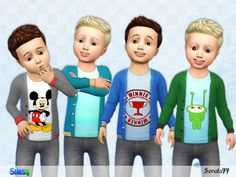 Outfit for the sims 4 toddler 08 Toddler Cc Sims 4, Sims 4 Toddler Clothes, Sims 4 Cc Kids Clothing, Toddler Boy Outfits, Toddler Boys, Kids Outfits, Sims Baby, Toddler Chores, Toddler Stuff