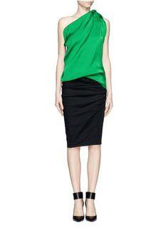 LANVIN - One-shoulder draped satin top   Blue and Green Blouses/Shirts Tops   Womenswear   Lane Crawford - Shop Designer Brands Online