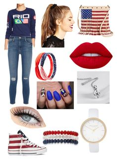 """Rio 2016"" by buggsybookiley ❤ liked on Polyvore featuring Ralph Lauren, Frame Denim, Charlotte Russe, ASOS, Converse, TWIG & ARROW, Lime Crime, Kim Rogers and River Island"