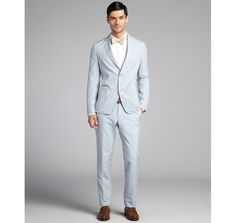 Ermenegildo Zegna light blue striped cotton blend two button suit with flat front pants - $2,125