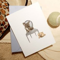 sweet little Frenchies...this card was inspired by my doggies. I love it! I'm a little partial to the artist too (he's my brother)!