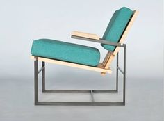 lounge chair in hickory and patinaed steel