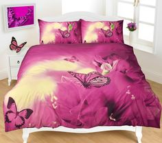 From Duvet Cover Set Animal Print Quilt Bedding Sets With Pillow Cases Poly Cotton Superking Super King Size Bed ( Butterfly Print Super King )