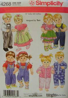 "Simplicity 4268 American Girl 15"" Bitty Baby Twins Doll Clothes Pattern Boy Girl | eBay"