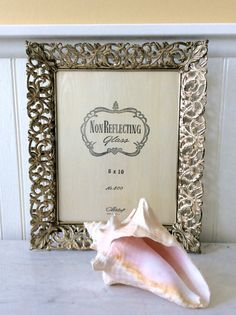 Vintage Gold Metal Filigree 8 X 10 Ornate Picture Frame, Whitewashed, Metalcraft, USA, Wedding, Hollywood Regency, French Country