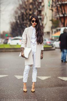 White on white street style