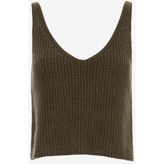 Exclusive for Intermix for Intermix Crop Knit Cami: Olive ($125) ❤ liked on Polyvore featuring tops, cami tank, brown tank, brown crop top, crop tank and v neck tank