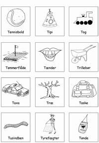 Klap stavelser - put i æske T ord - Printland