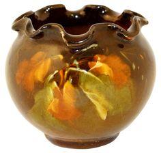 Owens Pottery Utopian Ruffled Rim Colorful Leaves Cabinet Jardiniere (Larzelere)
