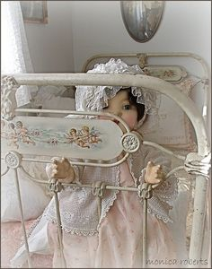 antique French lit de bébé (crib/cot) and vintage doll by LdyPene