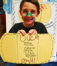 Great writing assignment for a list. Make a list of ouch things on a giant student made band-aid.