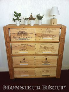 1000 images about meubles caisses palettes on pinterest crates cuisine and wooden crates - Meuble en caisse de vin ...
