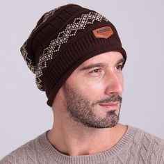 New Warm Fashion Men Knit Baggy Beanie Winter Hat Ski Slouchy Chic Knitted  Cap Skull-448E 75283479217c
