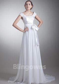 Chiffon Bateau V-back Sweep Ruched White A-line Sleeveless Wedding Dresses
