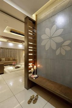 Foyer / Lobby foyer and lobby design & foyer and lobby ideas online – TFOD – Decorating Foyer Living Room Partition Design, Pooja Room Door Design, Room Partition Designs, Hallway Designs, Foyer Design, Lobby Design, Ceiling Design, House Design, Partition Ideas