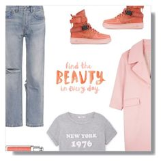 """""""Outfit Of The Day"""" by peony-and-python ❤ liked on Polyvore featuring RE/DONE, MANGO, NIKE, denim, ootd, casualoutfit and statement"""
