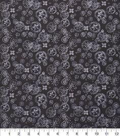 Keepsake Calico Fabric - Spiral Flowers Black