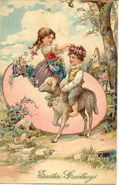 Vintage Easter Card - boy on a sheep goat with a girl coming out of a broken egg.