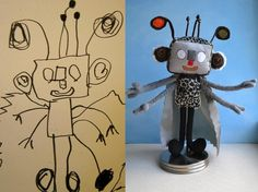 This woman makes a stuffed toy from your child's drawing.  What a great idea!